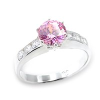 Pink CZ Solitaire Ring (A6X054)