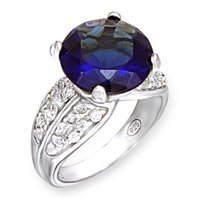 Blue Sapphire Round CZ Ring (A51015)
