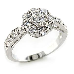 Clear Floral Rosette CZ Ring (A80109)