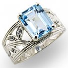 Aquamarine CZ w/ Wide Band (A32835)