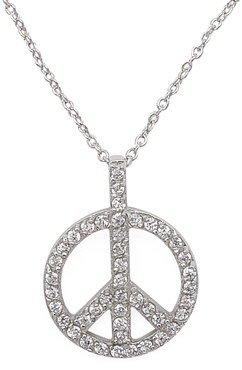 CZ Peace Sign Necklace (SV-PCZ-305)
