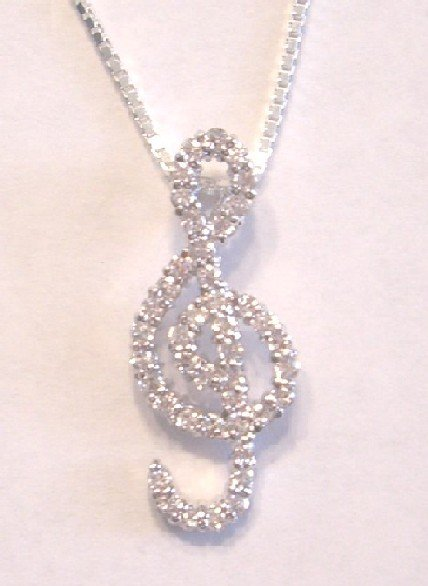 Music G Cleff CZ Necklace (PCH-3022)