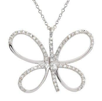 CZ Butterfly Necklace (SPCZ387)