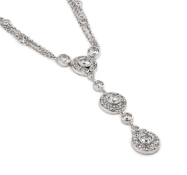 Elegant Dangling Round Necklace (SPCZ585)
