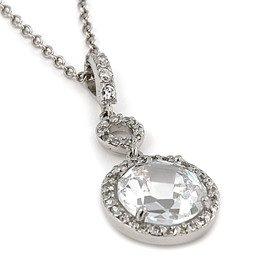 Dangling Round CZ Necklace (SPCZ624)