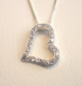 CZ Floating Open Heart Necklace (11026-PSP)