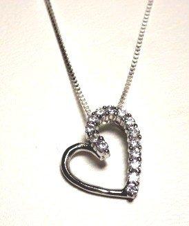 Half CZ Open Heart Necklace (3007-PSCH)