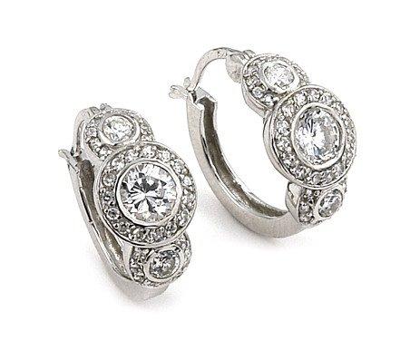 Elegant Round CZ Hoop Earrings (SECZ621)
