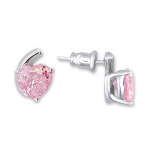 Pink CZ Heart Earrings (A52505)