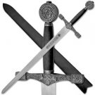 "New Excalibur 40"" Black & Silver Sword with Leather Sheath Camelot King Arthur"