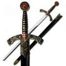"""Knights Templar 42"""" Shield Sword with Scabbard Collectible"""