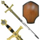 "King Solomon 47"" Gold Plated Sword with Plaque Medieval Collectible"