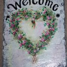 Personalized Custom Hand Painted Welcome Slate Sign Rosebud Heart