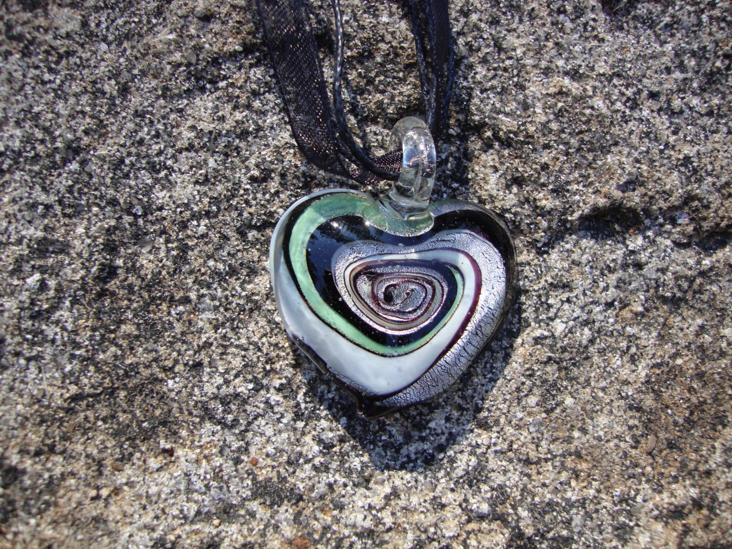 Black Glass Heart Necklace