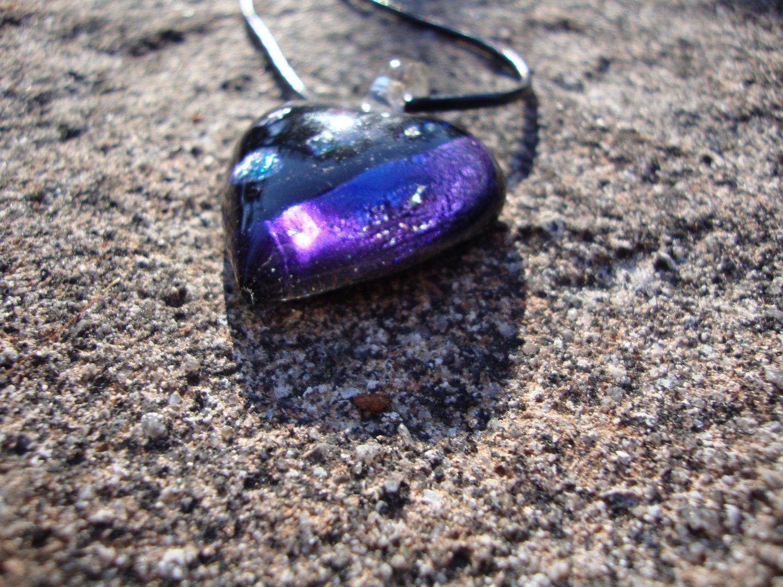Purple Dichroic Glass Heart