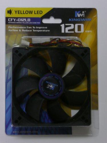 Kingwin CFY-012LB 120mm Long Life Bearing Yellow Case Fan, 950 RPM