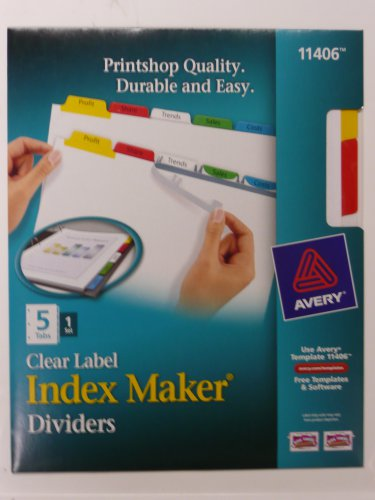 Lot of 2 - Avery 11406 Clear Label, Multicolor,  Index Maker Presentation Dividers, 5 Tabs