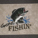 "Welcome Matt - Gone Fishin'  Driftwood Color Rectangle  27"" W X 18"" L"