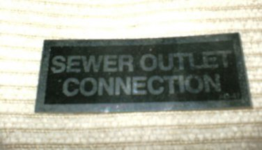 """RV Decal Sewer Outlet Connection #512 1 1/4"""" X 3 1/4"""""""