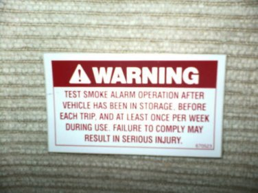 "RV Decal Warning Test Smoke Alarm  #505 1 3/4"" X 3 1/4"""