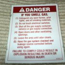 "RV Decal Danger If You Smell Gas List #514 3 1/4"" X 4"""