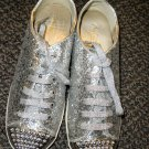 Wanted Hudson Silver Glitter / Chrome Stud Lace Up Oxford Shoes Size 8.5
