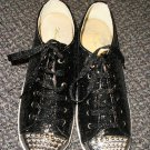 Wanted Hudson Black Glitter / Chrome Stud Lace Up Oxford Shoes Size 6