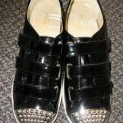 Wanted Vestry Black / Chrome Stud Synthetic Leather Velcro Strap Shoes Size 10