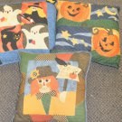 Barth & Dreyfuss Halloween Patchwork Pillow - Scarecrow, Pumpkins, Witch & Ghost