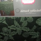 """Trim A Home Green Damask Fabric Tablecloth Oblong 60"""" X 84"""" #046781707332"""