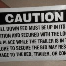 RV Decal Caution: The Pull Down Bed Must Be In Stored Postion   #0178105