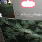 """Trim A Home Green Damask Fabric Tablecloth Oblong 60"""" X 120"""" #046781707349"""