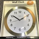 """Equity Brushed Metal 10"""" Quartz Wall Battery Operated Clock #26609"""