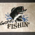 "Welcome Matt - Gone Fishin'  Sandy Trail Color Rectangle  27"" W X 18"" L"