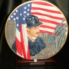 "HP ""Firefighter At W.T.C""  Plate And Stand Firefighter Collection #14082"