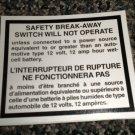RV Information Decal Safety Break-Away Switch 2 Language #TL50003SBAS2L