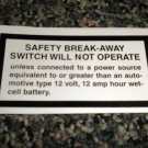 RV Information Decal Safety Beak-Away Switch Will Not Operate #TL50002SBASWNO