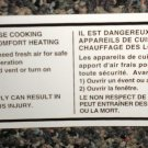 RV Information Decal It Is Not Safe To Use Cooking Appliances For Heating