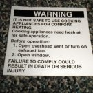RV Information Decal Warning Not Safe To Use Cooking Appliance Heat#TL50002ADCWL