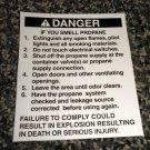 RV Information Decal Danger If You Smell Propane #TL50002/3DIYSP