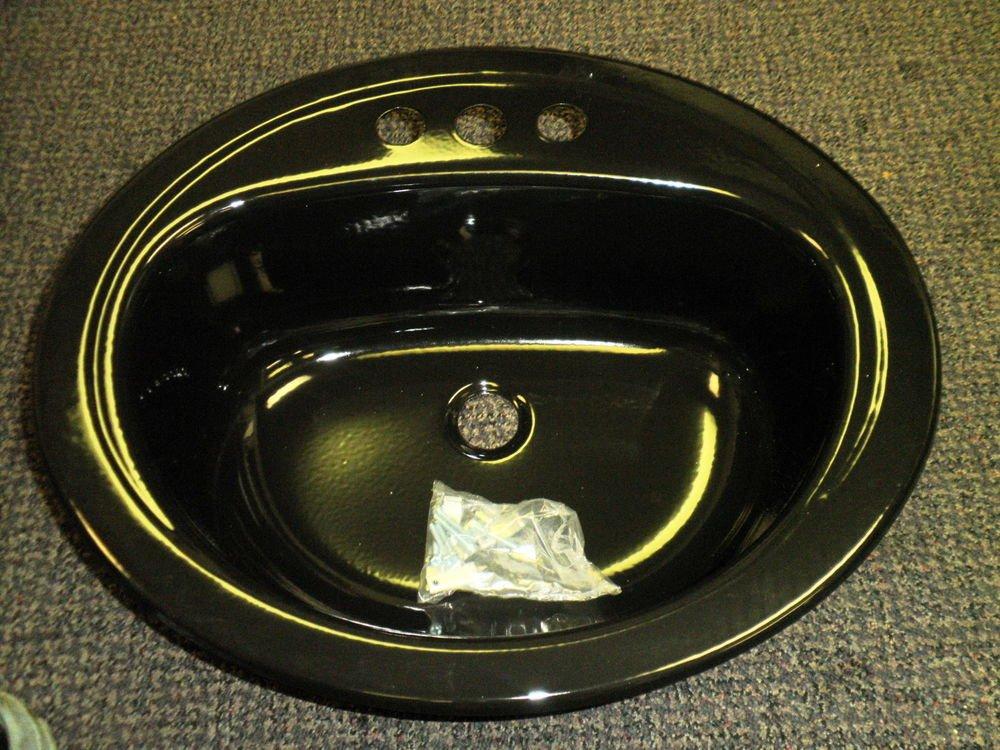 """Bootz Industries Black Enamel Steel 17"""" X 20"""" Oval Lavatory Sink #021-2449-99"""