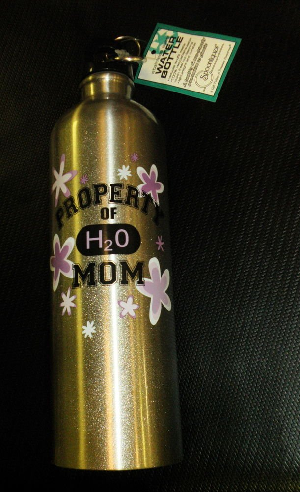 Spoontiques Stainless Steel Water Bottle Property Of MOM  W/ Keychain Clasp #149