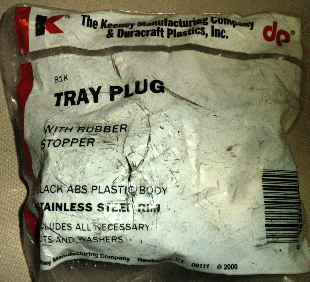 Kenney Mfg & Duracraft Plastic Inc Tray Plug With Rubber Stopper #81K