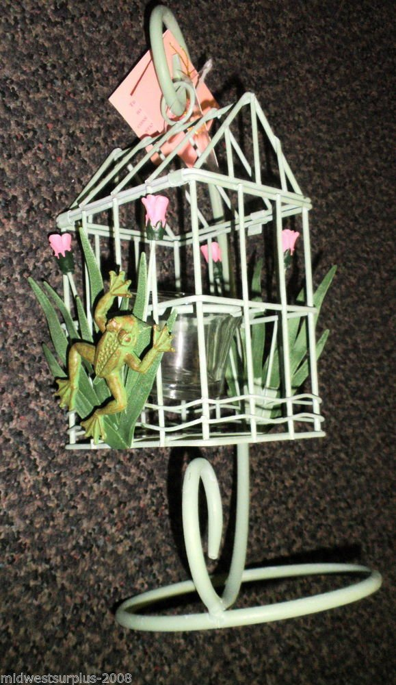 "Simson 12"""" Metal Tulip & Frog Bird Cage Candle Holder #003-01386"