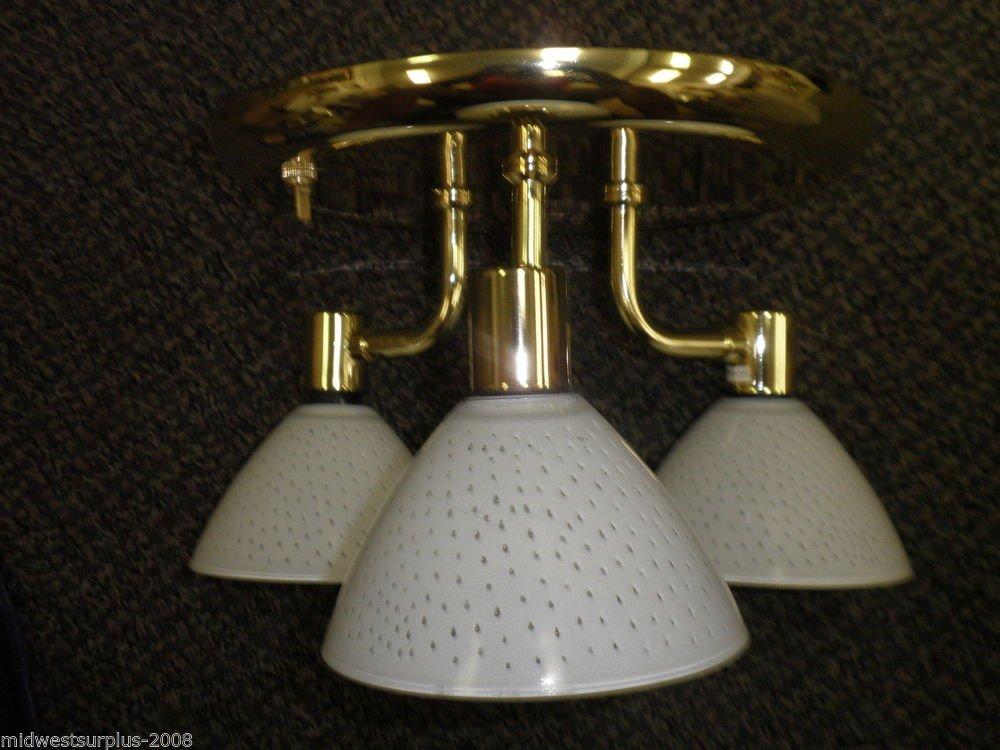 "ITC 12V Triple 10"" PB Ceiling Light Fixture W/ White Dot Globes #36707-BR1179090"