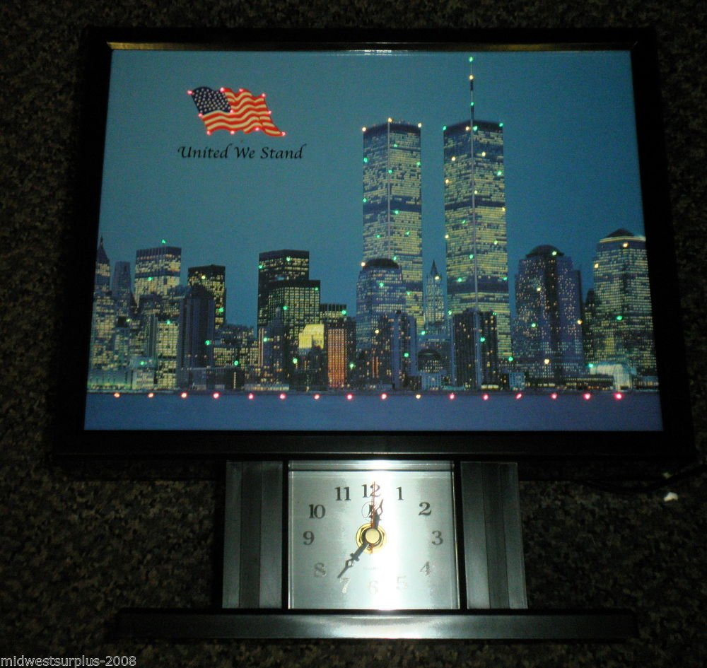 Yirng Shehng United We Stand / NYC Fiberoptic Picture W/ Battery Operated Clock