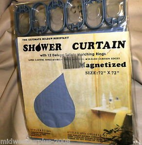 "C.H.F Blue 72"" X 72""  Vinyl Shower Curtain With 12 Deluxe Matching Rings"