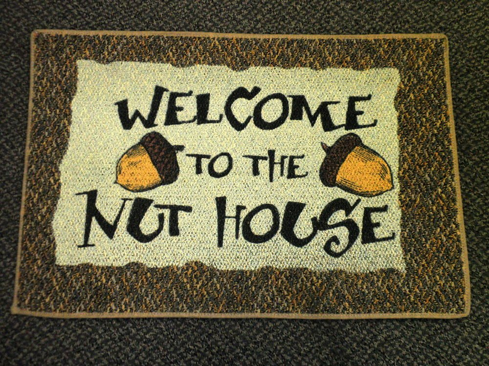 Welcome To The Nut House Rug / Door Mat - Brown Multi Color
