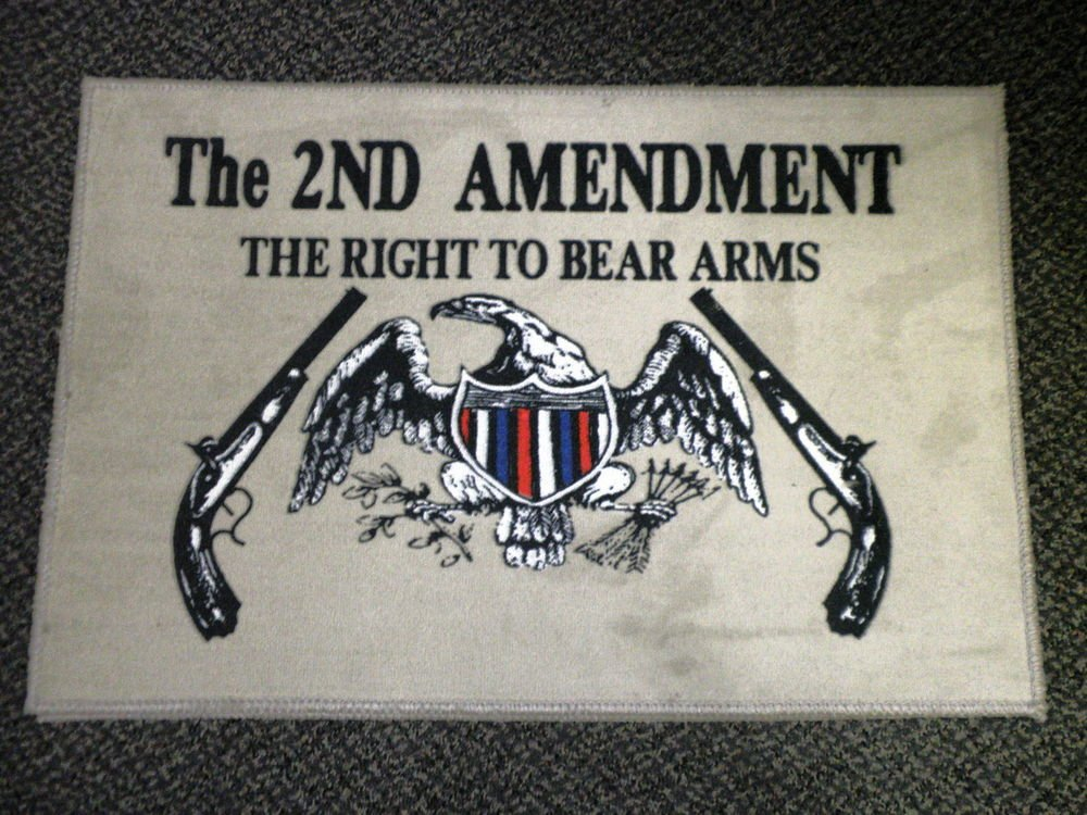 The 2nd Amendment The Right To Bear Arms Rug / Door Mat - Taupe