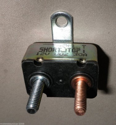 Short Stop 30 Amp 12V Metal RT ANG Bracket Circuit Breaker #1121A30-A6M